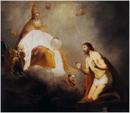God Inviting Christ to Sit on the Throne at His Right Hand by Pieter de Grebber (1645)