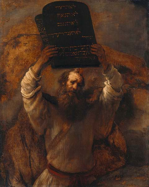 Moses and the Ten Commandments by Rembrandt (1659)