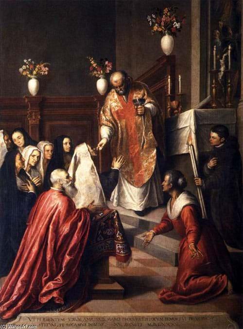 Pasquale Cicogna Hearing Mass Celebrated in the Oratory of the Crociferi by Jacopo d'Antonio Negretti, 1568