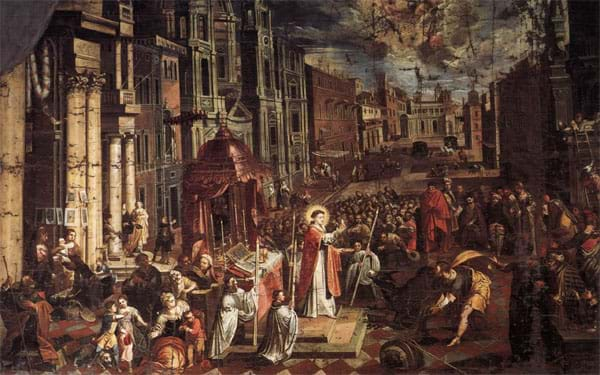 St. Anthony and the Eucharistic miracle with the donkey. Painting by Joseph Heintz the Younger