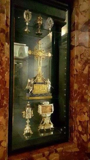 The reliquary in the top left contains the finger of St. Thomas the Apostle, preserved in the Church of the Holy Cross in Rome, Italy. Photo copyright Matthew Plese, 2016