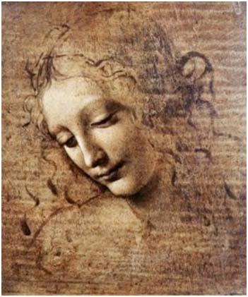 Head of a Woman by Leonardo DaVinci (c. 1508)