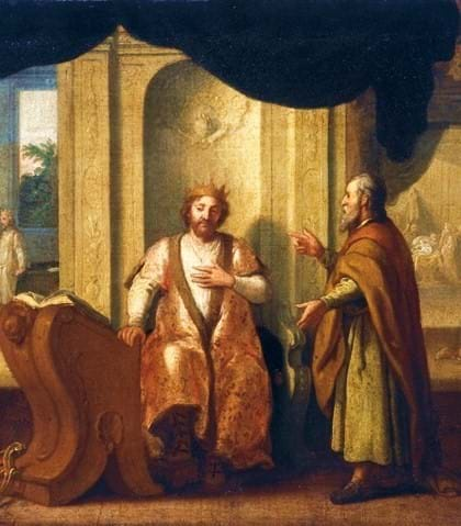 Nathan, on the right, with King David by Matthias Scheits (late 17th cen.)