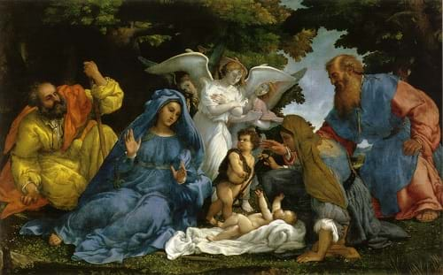Holy Family with Angels and Saints by Lorenzo Lotto (16th cen.)