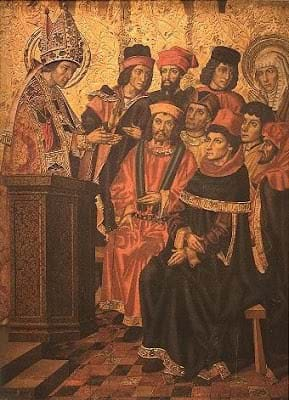 St. Ambrose preaching to St. Monica, the mother of St. Augustine