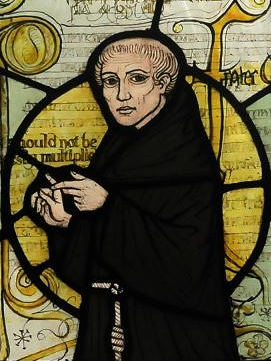 William of Ockham, depicted in a stained glass window in Surrey.